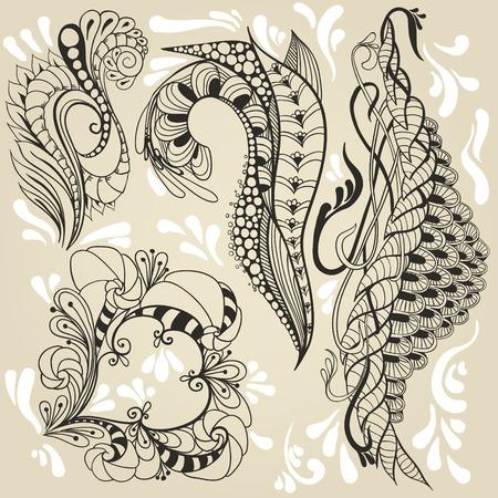 Vier stickers in de doodle stijl. Vector illustratie. Stock Illustratie