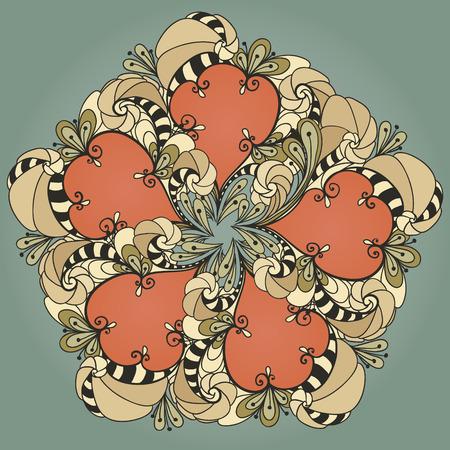Kaart met gekleurd rond ornament. Rond patroon Mandala. Patroon voor de wenskaart of uitnodiging, sjabloon frame ontwerp voor kaart, vectorillustratie Stock Illustratie