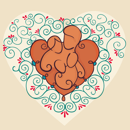 Symbol of a happy family concepts. Parents and a baby on floral heart background. Vector illustration with mother, father and children.
