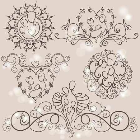 Five symbols of happy family concept. Parents and a babies on floral backgrounds. Vector illustration with mother, father and children.