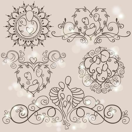 Vijf symbolen van gelukkig familieconcept. Ouders en baby's op bloemenachtergronden. Vectorillustratie met moeder, vader en kinderen. Stock Illustratie