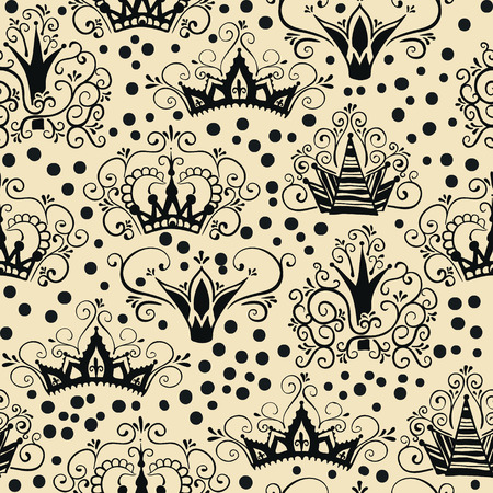 A seamless Pattern with Crowns in doodle style. Ilustracja