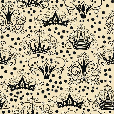 Een naadloos patroon met kronen in doodle stijl.
