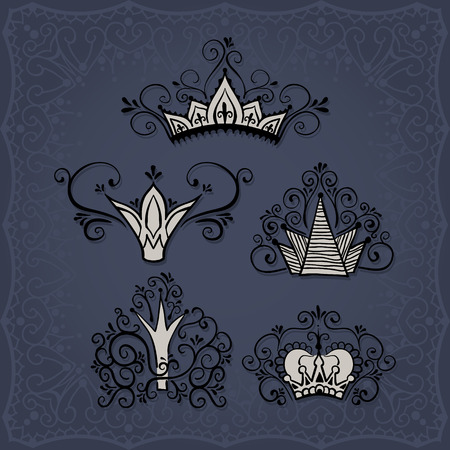 Five crowns in doodle style and a square border on background. Ilustracja