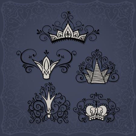 Vijf kronen in doodle stijl en een vierkante grens op de achtergrond.