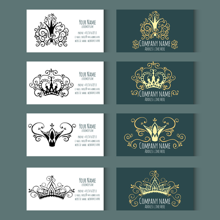 Set of templates for business cards with Crowns. Corporate style. Vector illustration.