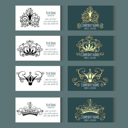 Set sjablonen voor visitekaartjes met kronen. Corporate stijl. Vector illustratie. Stock Illustratie