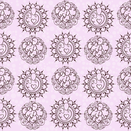 A seamless pattern with happy family concept design. Parents and a baby on a floral heart background. Vector illustration with mother, father and a child.