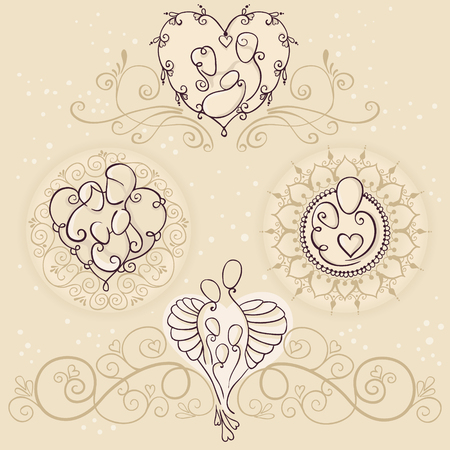 Four symbols of happy family concept design. Parents and a baby on floral backgrounds. Vector illustration with mother, father and children. Illusztráció