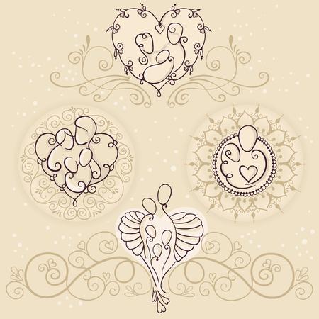 Vier symbolen van gelukkig familieconceptontwerp. Ouders en een baby op bloemenachtergronden. Vectorillustratie met moeder, vader en kinderen.
