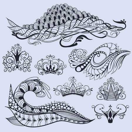 Drie doodles en vijf kronen in doodle stijl.