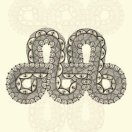 Sjabloon voor tattoo ontwerp of kaart decoratie met mehndi elementen. Bloemenornament, Arabisch, Indisch, Ottomaanse motieven. Infinity ontwerp. Vector illustratie.