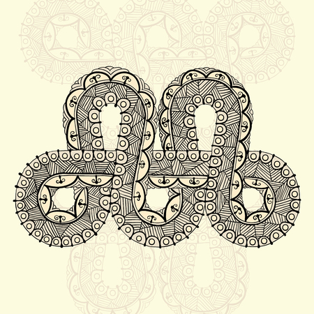 Template for tattoo design or card decoration with mehndi elements. Floral ornament, arabic, indian, ottoman motifs. Infinity design. Vector illustration.