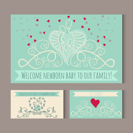 Greeting cards with symbols of happy family. Welcome newborn baby to a big happy family. Vector illustration with mother, father and a children. Illusztráció
