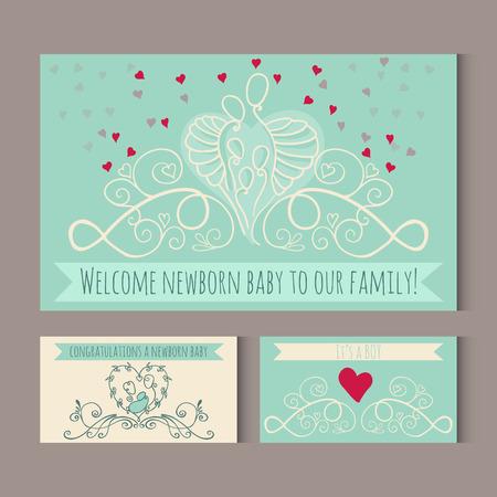 Groetkaarten met symbolen van gelukkige familie. Welkom pasgeboren baby aan een grote gelukkige familie. Vector illustratie met moeder, vader en een kind.