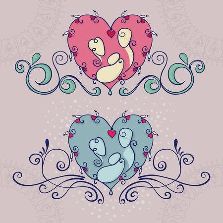 Symbols of happy family. Parents and a baby on floral heart background. Vector illustration with mother, father and a child.