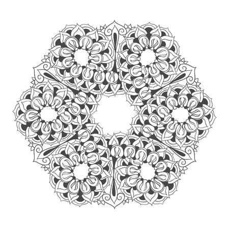 Sjabloon voor tattoo ontwerp of kaart decoratie met doodle elementen. Bloemenornament, arabisch, indisch, ottomane motieven. Infinity ontwerp. Vector illustratie.