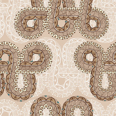 A seamless pattern with mehndi elements. Floral ornament. Islam, arabic, indian, ottoman motifs. Infinity design. Vector illustration.