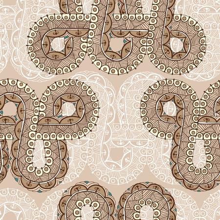 Een naadloos patroon met mehndi elementen. Bloemen ornament. Islam, Arabisch, Indiaas, Ottomaanse motieven. Infinity ontwerp. Vector illustratie.