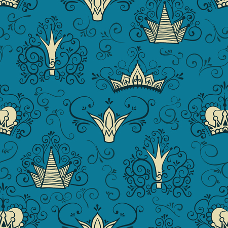 A seamless Pattern with Crowns in doodle style. Illusztráció