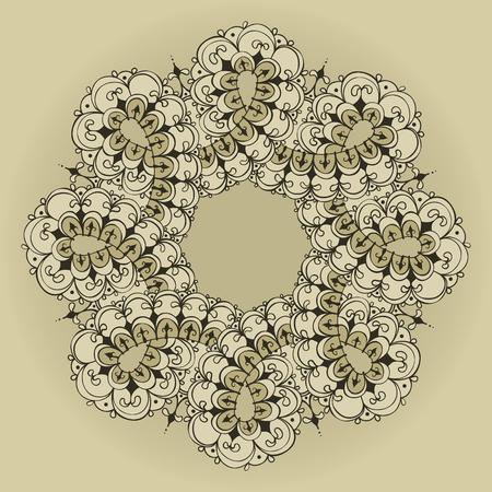 Sjabloon voor tattoo ontwerp of kaart decoratie met doodle elementen. Bloemen oneindigheidsornament. Islam, Arabisch, Indiaas, Ottomaanse motieven. Infinity ontwerp. Vector illustratie.