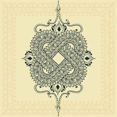 Template for tattoo design or card decoration with east and doodle elements. Floral ornament. Islam, arabic, indian, ottoman motifs. Infinity design. Vector illustration. Illusztráció