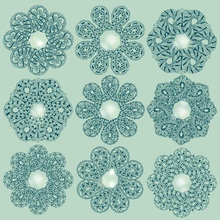Negen sjablonen voor tattoo-ontwerp of kaartdecoratie met mehndi-elementen. Bloemen ornament. Islam, Arabisch, Indiaas, Ottomaanse motieven. Infinity ontwerp. Vector illustratie. Stock Illustratie