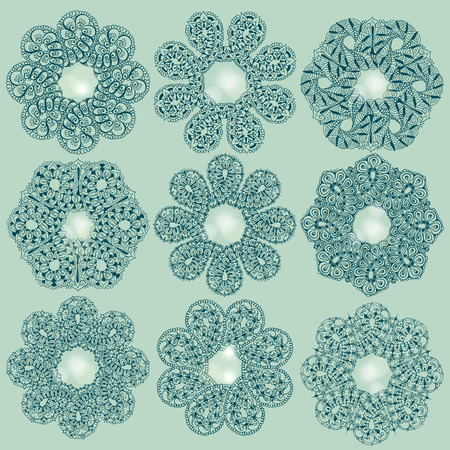 Nine templates for tattoo design or card decoration with mehndi elements. Floral ornament. Islam, arabic, indian, ottoman motifs. Infinity design. Vector illustration.
