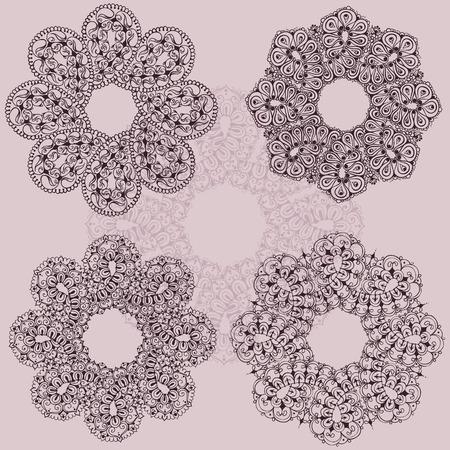 Vijf sjablonen voor tattoo-ontwerp of kaartdecoratie met mehndi-elementen. Bloemen ornament. Islam, Arabisch, Indiaas, Ottomaanse motieven. Infinity ontwerp. Vector illustratie. Stock Illustratie