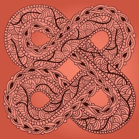 Sjabloon voor tattoo ontwerp of kaart decoratie met Oost- en doodle elementen. Bloemen ornament. Islam, Arabisch, Indiaas, Ottomaanse motieven. Infinity ontwerp. Vector illustratie.