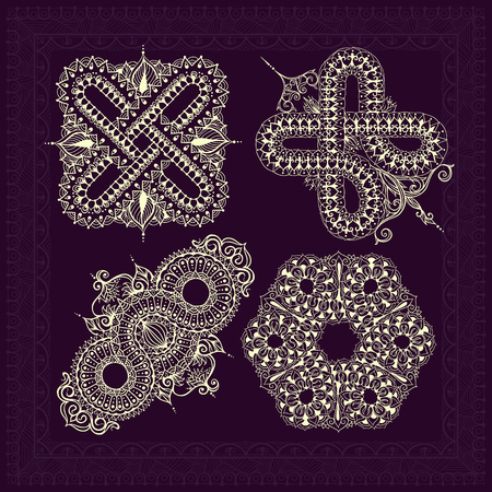 Vier sjablonen voor tattoo-ontwerp of kaartdecoratie met mehndi-elementen. Bloemenornamenten en een vierkante rand. Islamitische, arabische, indiase, Ottomaanse motieven. Infinity ontwerp. Vector illustratie.