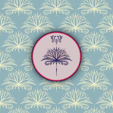 Tekening uit de vrije hand van lotusbloem in Oost-stijl op de naadloze achtergrond. Kan worden gebruikt voor achtergronden, zakelijke stijl, tatoeage sjablonen, kaarten ontwerp of anders. Vector illustratie.