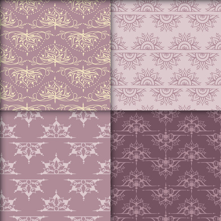 Four seamless patterns with lotuses. Can be used for backgrounds, business style, tattoo templates, cards design or else. Vector illustration. Illusztráció