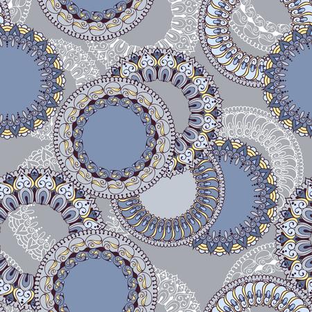 Naadloos patroon met gekleurde ronde bloemen ornament. Bloemen achtergrond met mandala's voor de wenskaarten, uitnodiging, sjabloon frame design, zakelijke stijl, kaarten, textiel achtergronden of anders. Vector illustratie. Stock Illustratie