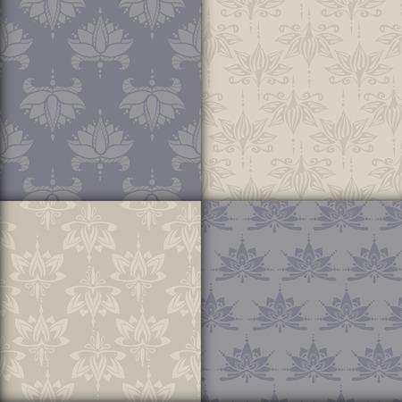 Vier naadloze patronen met lotussen. Kan worden gebruikt voor achtergronden, zakelijke stijl, tatoeage sjablonen, kaarten ontwerp of anders. Vector illustratie.