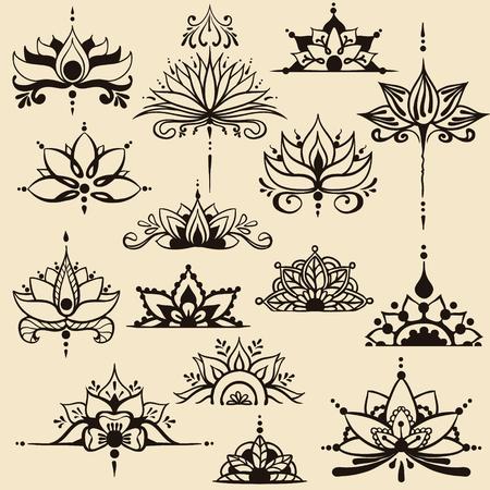 Piętnaście odręcznych rysunków kwiatów lotosu w stylu wschodnim. Może być używany jako logo, do tła, stylu biznesowego, szablonów tatuaży, projektów kart lub innych. Ilustracja wektorowa.
