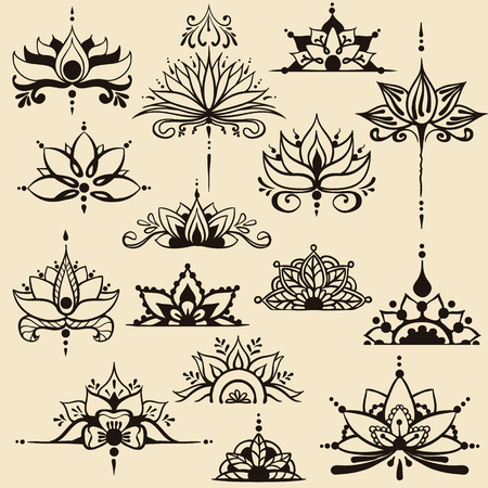 Fifteen freehand drawings of lotus flowers in east style. Can be used as a logo, for backgrounds, business style, tattoo templates, cards design or else. Vector illustration.