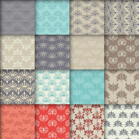 Set van zestien naadloze patronen met lotussen. Kan worden gebruikt voor achtergronden, zakelijke stijl, tatoeage sjablonen, kaarten ontwerp of anders. Vector illustratie.