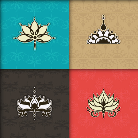 Four freehand drawings of lotus flowers in east style on the seamless background. Can be used for backgrounds, business style, tattoo templates, cards design or else. Vector illustration. Illusztráció