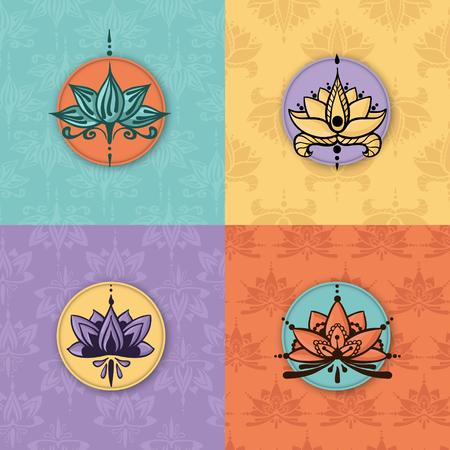 Vier tekeningen uit de vrije hand van lotusbloemen in Oost-stijl op de naadloze achtergrond. Kan worden gebruikt voor achtergronden, zakelijke stijl, tatoeage sjablonen, kaarten ontwerp of anders. Vector illustratie.