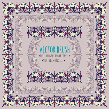 Vector brushes set with outer, inner, start and end tiles. Doodle style with east and floral elements. Illusztráció