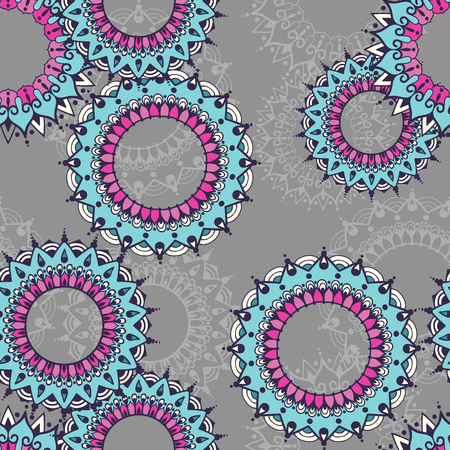 Seamless pattern with circular floral ornaments. Floral background with mandalas for the greeting cards, invitation, business style, cards, textile backgrounds or else. Vector illustration.