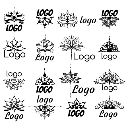 Sixteen freehand drawings of logos with lotus flowers in east style. Can be used as a logo, for backgrounds, business style, tattoo templates, cards design or else. Vector illustration. Illusztráció
