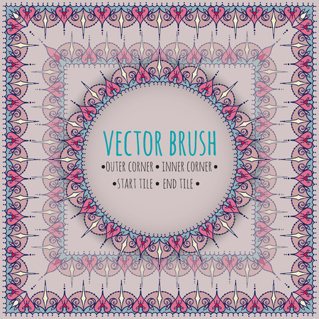 Vector brush with outer, inner, start and end tiles. Doodle style with east and floral elements.