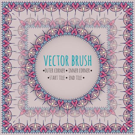 Vectorborstel met buitenste, binnenste, begin- en eindpanelen. Doodle-stijl met oost- en bloemenelementen.
