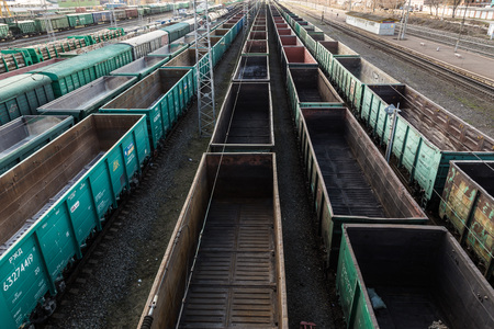 Freight cars at a large railway station. Cargo transportation and railway trains