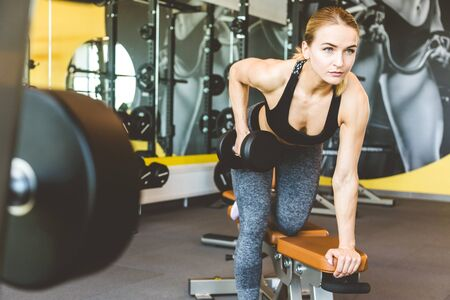 Working out with dumbbell weights at the gym.Fitness Women exercising are lifting dumbbells. Fitness muscular body.Workout at gym 스톡 콘텐츠 - 129376683