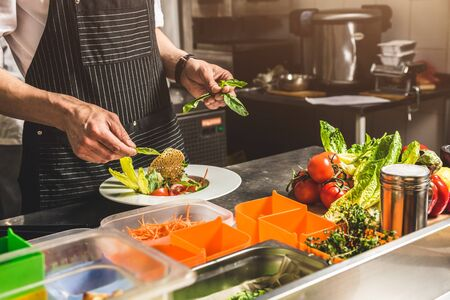 Professional chef cooking in the kitchen restaurant at the hotel, preparing dinner. A cook in an apron makes a salad of vegetables and pizza 스톡 콘텐츠 - 130955261