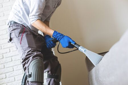 Man cleaning sofa chemical cleaning with professionally extraction method. Upholstered furniture. Early spring cleaning or regular clean up.