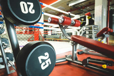 close up photo of the boxing ring in the interior of the gym.